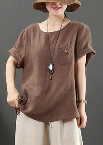 Modern o neck pockets linen summer clothes Fashion chocolate blouse