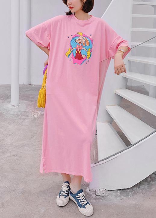 Modern o neck quilting clothes Outfits pink Cartoon anime print long Dresses