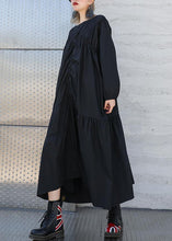 Load image into Gallery viewer, Modern o neck wrinkled cotton fall Long Shirts Fashion Ideas black A Line Dresses