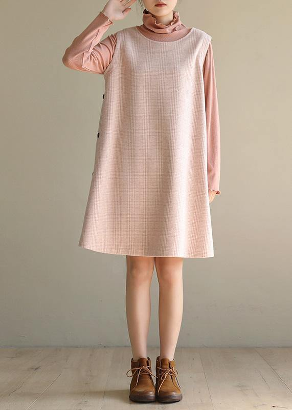Modern pink cotton dresses false two pieces Robe high neck Dresses