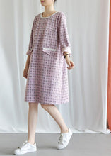 Load image into Gallery viewer, Modern plaid Blended outfit o neck Knee fall Dresses