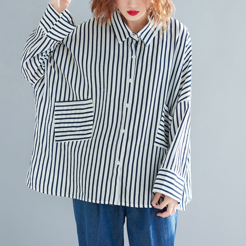 Modern pockets cotton clothes plus size Tunic Tops black white striped tunic shirts