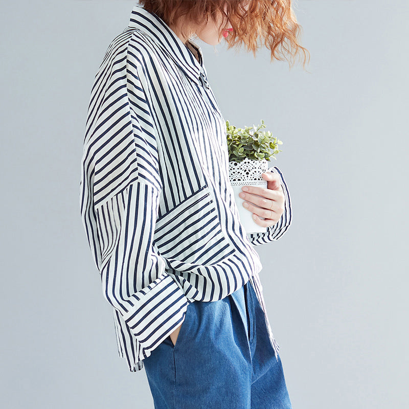 new york good selling where to buy Modern pockets cotton clothes plus size Tunic Tops black white striped  tunic shirts