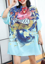 Load image into Gallery viewer, Modern prints Cotton clothes Sewing blue Chinese Button Dress summer