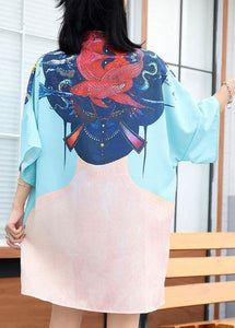Modern prints Cotton clothes Sewing blue Chinese Button Dress summer