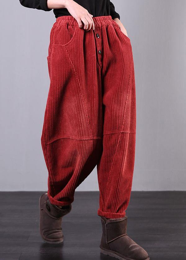Modern red women pants oversize fall Corduroy pockets Cotton casual pants