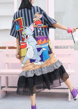 Load image into Gallery viewer, Modern ruffles cotton clothes Women Runway navy prints Maxi Dress