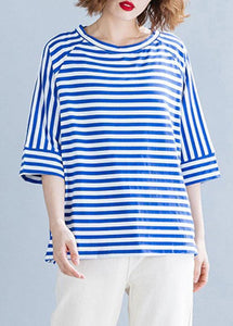 Modern side open cotton shirts Wardrobes blue striped blouses summer