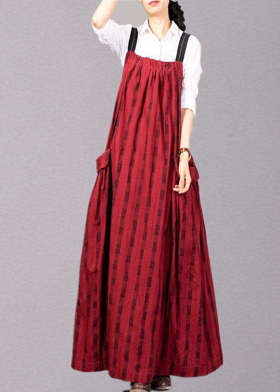 Modern sleeveless linen clothes Catwalk red patchwork Dress fall