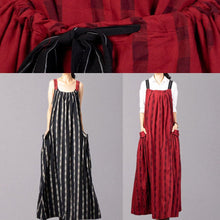 Load image into Gallery viewer, Modern sleeveless linen clothes Catwalk red patchwork Dress fall