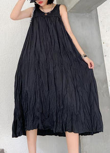 Modern sleeveless Cinched cotton summer dress Fabrics black Maxi Dresses