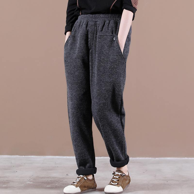 Modern spring wild pants plus size dark gray Work Outfits elastic waist pockets casual pants