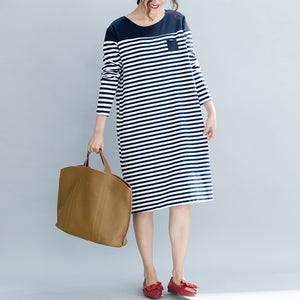 Modern striped Cotton Tunics Boho Fashion Ideas pockets cotton Dress