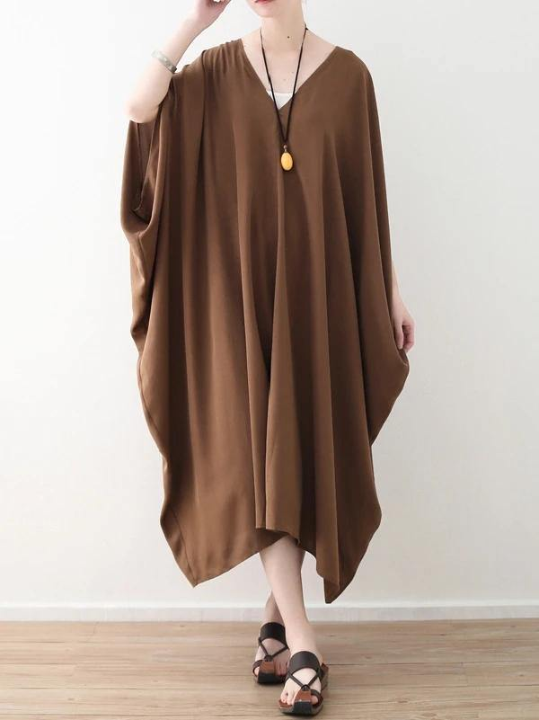 Modern v neck asymmetric clothes Women Runway chocolate loose Dress summer
