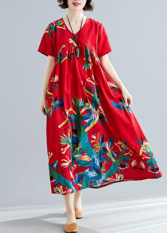 Modern v neck cotton tunic pattern Sewing red prints Kaftan Dresses summer