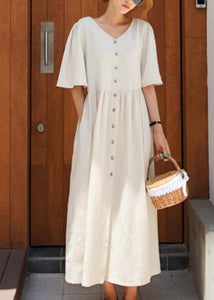Modern v neck flare sleeve cotton linen summer dress Runway beige Dresses