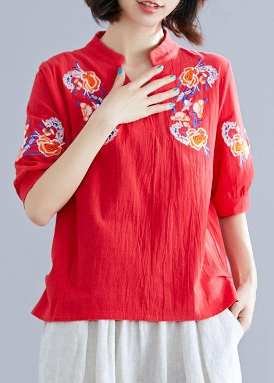 Modern v neck linen cotton crane tops red embroidery silhouette shirts summer