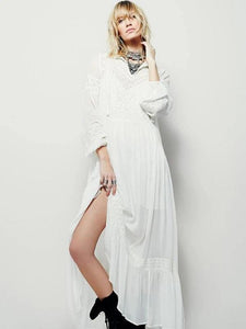 Modern v neck patchwork cotton spring Tunics Runway white Vestidos De Lino Dress
