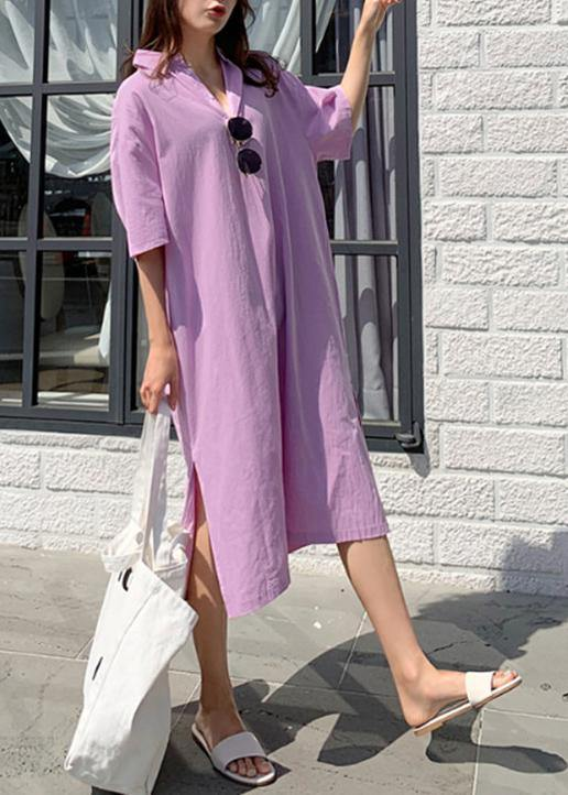 Modern v neck side open linen cotton clothes For Women Shirts purple Dress