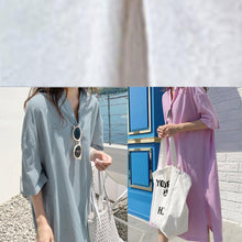 Load image into Gallery viewer, Modern v neck side open linen cotton clothes For Women Shirts purple Dress