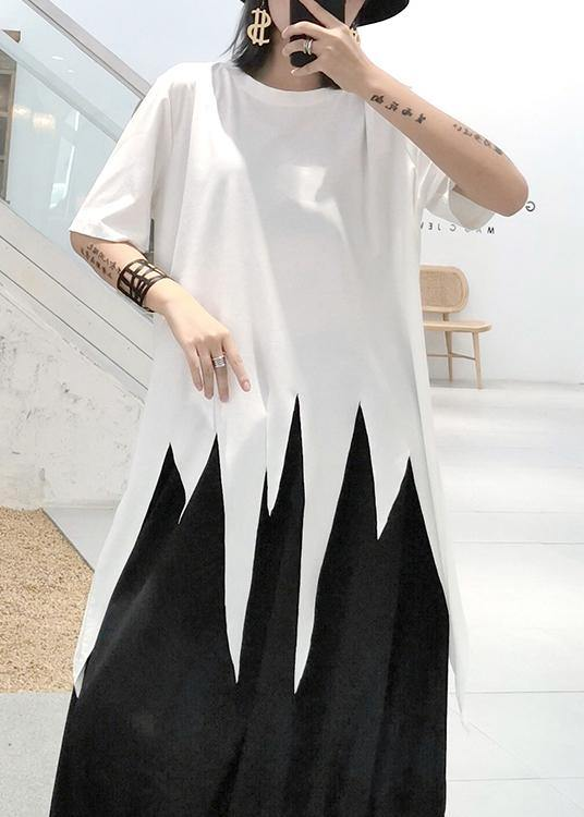 Modern white Shirts o neck asymmetric summer tops