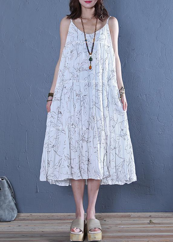 Modern white print cotton clothes For Women Spaghetti Strap Maxi  Dress