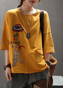 Modern yellow cotton clothes For Women Organic Embroidery Letter Summer Drop Shoulder Sleeve T-Shirt