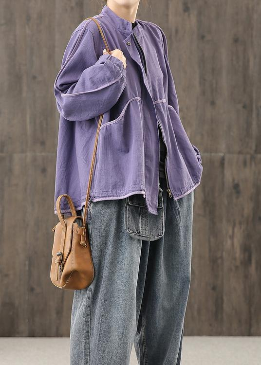 Modern zippered pockets crane tops Work Outfits purple top