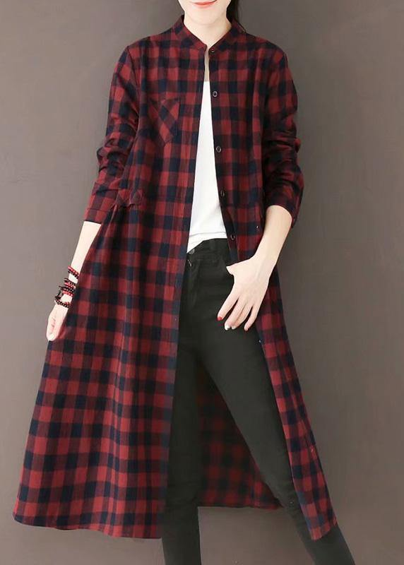 Natural Burgundy Plaid Quilting Dresses Stand Collar Pockets Long Spring Dresses
