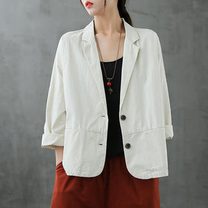 Natural Notched Button Down fall Blouse Shirts white shirt