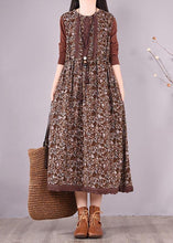 Load image into Gallery viewer, Natural O Neck Lace Spring Clothes Design Chocolate Print Maxi Dress