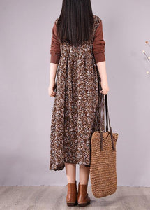 Natural O Neck Lace Spring Clothes Design Chocolate Print Maxi Dress