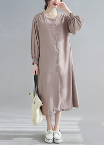 Natural O Neck Lantern Sleeve Spring Clothes Women Photography Brown Long Dress