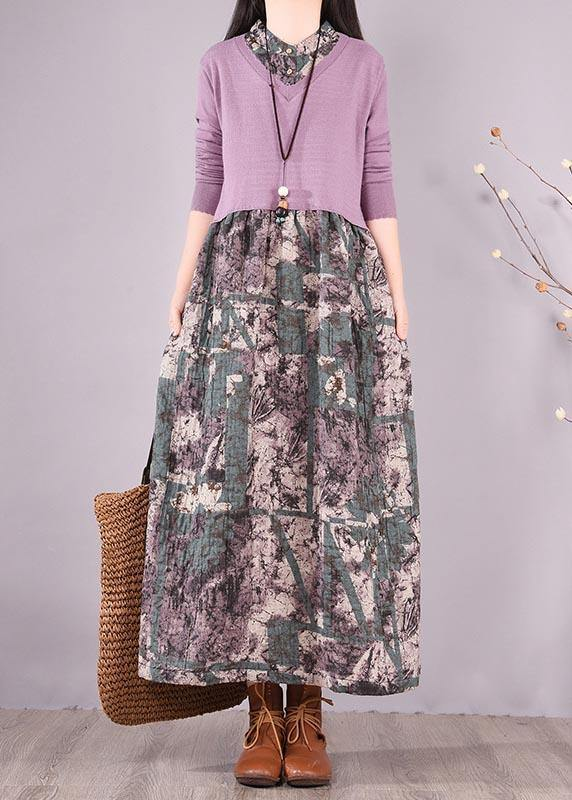 Natural Patchwork Spring Clothes Fabrics Purple Print Loose Dress