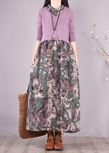 Load image into Gallery viewer, Natural Patchwork Spring Clothes Fabrics Purple Print Loose Dress