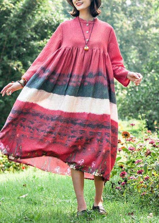 Natural Stand Collar Cinched Quilting Dresses Fashion Ideas Red Print Maxi Dress