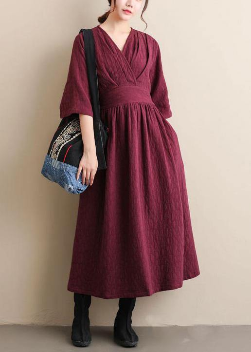 Natural V Neck Cinched Spring Quilting Clothes Pattern Burgundy Maxi Dress