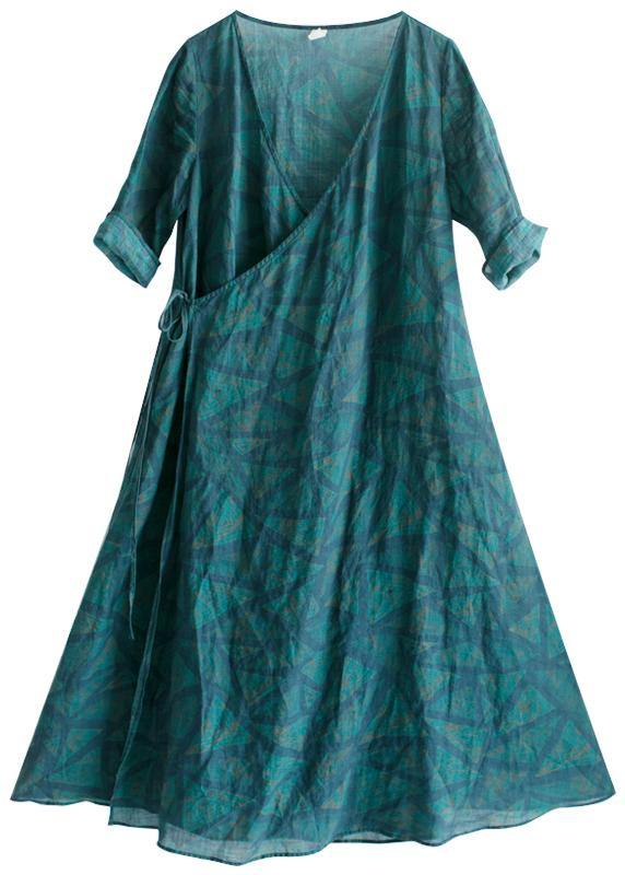 Natural V Neck Spring Quilting Clothes Blue Green Print Long Dresses
