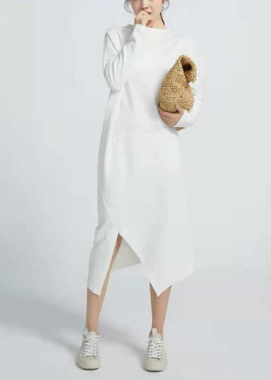 Natural White cotton Tunics Side Open  Maxi Long Sleeve  Dresses