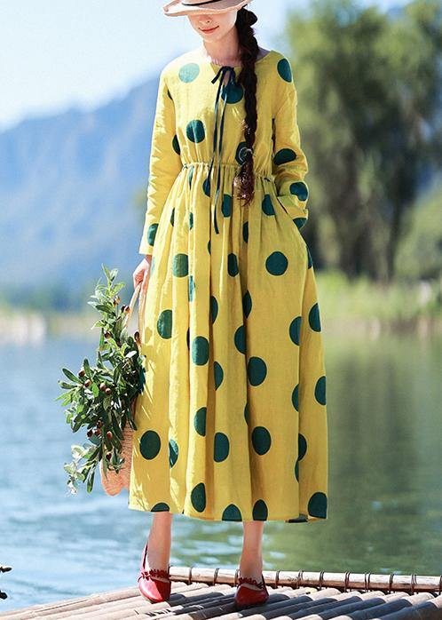Natural Yellow Dotted Tunic Dress O Neck Pockets Art Dress