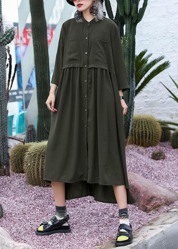 Natural army green chiffon dresses side open Traveling fall shirt Dress