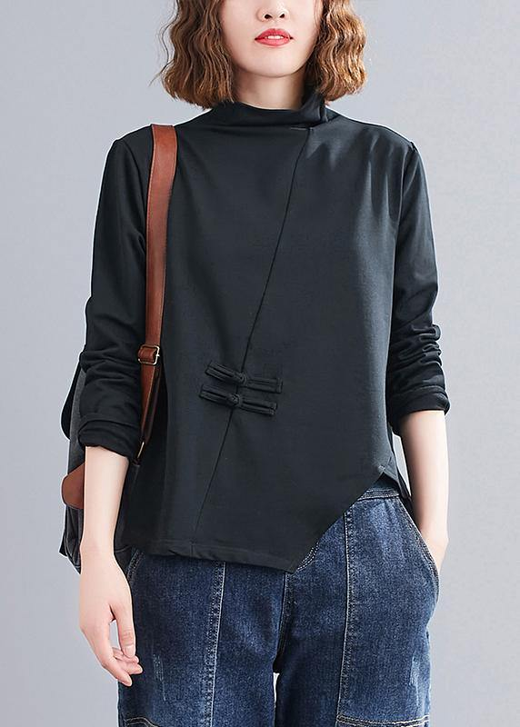 Natural black Blouse high neck Chinese Button Knee tops