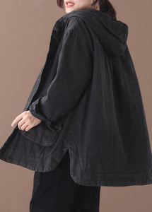 Natural black Plus Size tunic pattern Tutorials side open hooded coat