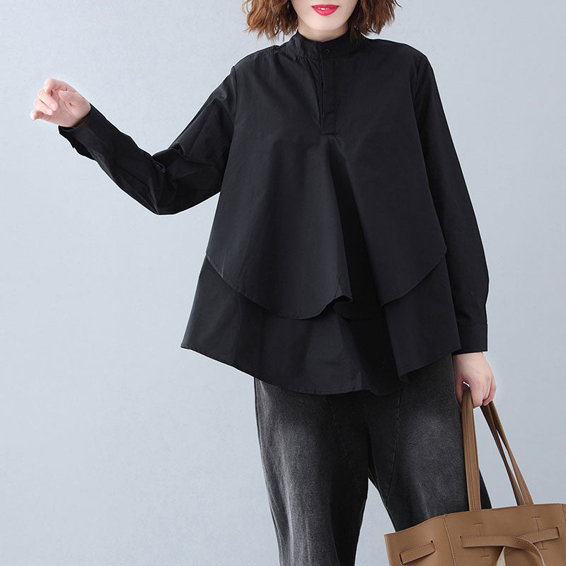 Natural black cotton crane tops Pakistani Shape stand collar Button Down Knee shirt