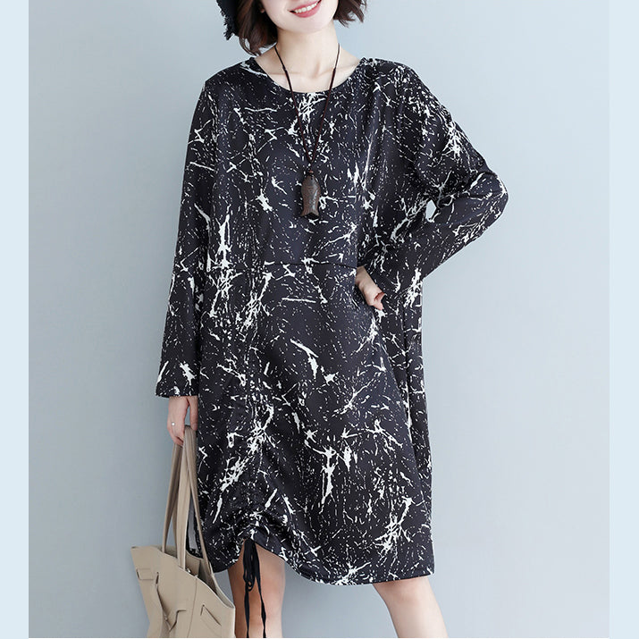 Natural black print Cotton dress 2019 Shape side open baggy Dress