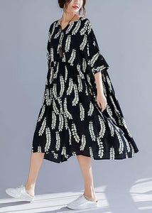 Natural black prints cotton Tunics v neck A Line summer Dresses