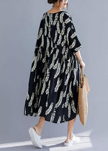 Load image into Gallery viewer, Natural black prints cotton Tunics v neck A Line summer Dresses