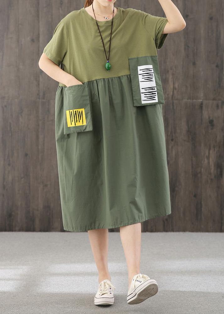 Natural blackish green dress o neck patchwork Dress
