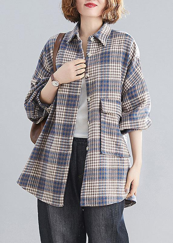 Natural blue plaid linen Blouse Fashion Ideas lapel Batwing Sleeve tops