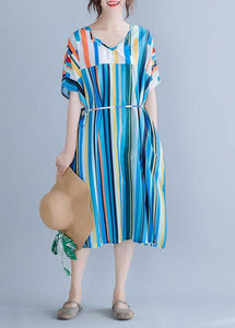 Natural blue striped chiffon dress long plus size Online Shopping v neck patchwork Summer Dress